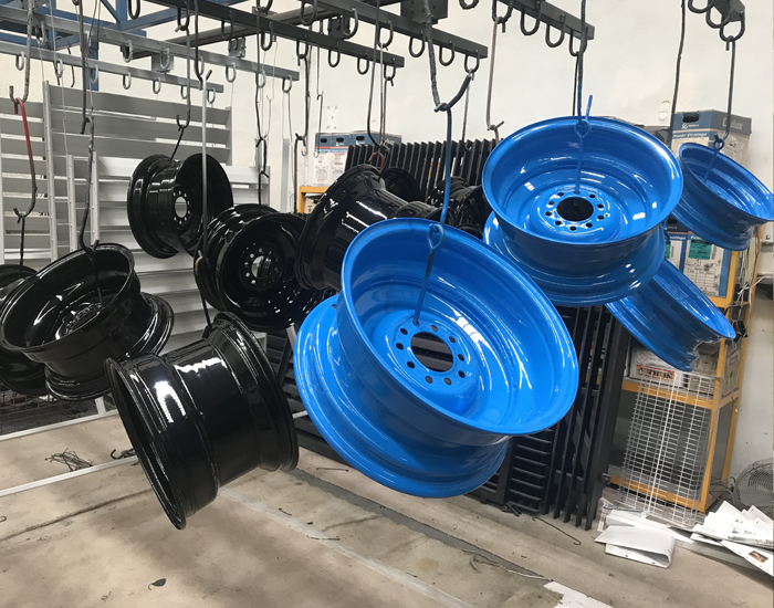 Powder Coating Blue wheels